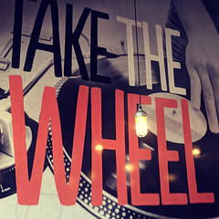 Take the Wheel (earthdog) Tags: 2018 word sign text restaurant blazepizza turntable art mural photo metaphoto androidapp moblog cameraphone googlepixel pixel record vinyl