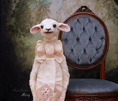 Not the same (pure_embers) Tags: pure embers laura pureembers uk england whimsical cute photography portrait lamb sheep taxidermy sculpture mary doll collector vintage style antique bow anthropomorphic