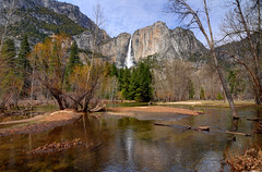 The Merced River and Upper Yosemite Falls (Craig Stevens <castevens12>) Tags: tokina1116mmf28 nikond7000 yosemitenationalpark yosemitevalley yosemitenps mercedriver spring spr upperyosemitefall upperyosemitefalls bluesky clear cloudless clouds trees redwoodtrees tree water reflection landscape warm sunny sun rocky mountains mountain sierranevada waterfall fullblast cholock ahwahneechee april