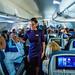 Flight attendant employee models during mid-flight fashion show