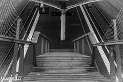 Laval gare (Fotomaniak 53) Tags: gare escaliers quai noirblanc nb bw monochhrome canon eos 550d raw fotomaniak53 laval mayenne 53 paysdelaloire rampe grillage bois pilier rails train station
