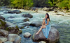 (Wendy Lu.) Tags: select wendylu canon5d beautiful fantasy tranquil ethereal fairytale river creek torquoise girl sitting rock boulder sikly long black hair smiling blue flowy gown standing dreamy asian female woman mystical canyon forest