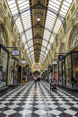 Royal Arcade (syf22) Tags: australia aussie oz downunder melbourne cbd centralbusinessdistrict commercial bust street shopping citycentre shoppingarea citystreet streetscene shops arcade oldfashioned ancient victorian checkers floor pathment walkway path lane display advertisement classifiedad selling goods