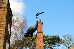 Heron above the garden (zawtowers) Tags: ruffordoldhall rufford lancashire national trust property hesketh family residence gradei listed building built 1530 historic house heron bird statue garden