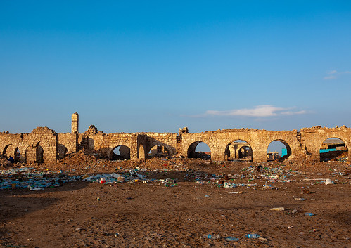 Ruins of the old town after the somalian civil war, Awdal region, Zeila, Somaliland
