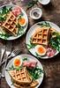 Potato savory waffles... (sonja-ksu) Tags: food breakfast waffles egg ham snack pastry foodphotography
