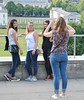 Greenwich Tourists (Waterford_Man) Tags: girls jeans tourists blueandwhite people candid path london