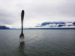 Fork of Vevey (Silver Chew) Tags: europe tour trip vacation swiss switzerland fork water lake clean clear sky vevey