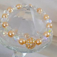 Vintage Joan Rivers Swarovski Austrian Crystal Champagne Pearl Bracelet. Rhinestone Pearl Bracelet.  Austrian Crystal Bracelet. (waalaa) Tags: etsy vintage antiques shopping jewelry jewellery gifts wedding