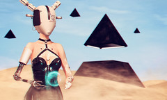 Terre-15b (♛ Baronne ♛) Tags: secondlife avatar slavi sl 3d french pyramid cinphul mesh shadow scifi fantasy cyber bot robot azoury helmet cosmopolitan latex dress hologram holo holographic tattoo sexy mad egypt cyberpunk fantaisie sky ship spaceship photograph pic picture vaisseaux colonie colony sable sand desert portrait amazing beauty girly busty cleavage cloud vr virtualreality eart terre exoplanet