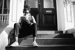 IMG_7703 (JetBlakInk) Tags: afro brixton composition lowkey mono women streetphotography candidportrait pov magichour blackgirlmagic books thegraduate student steps stairwell stairs reader reading study studying