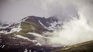 Clouds in between the peaks of the Nevis Range