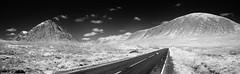 D7K_9170-Pano: Buachaille Etive Mor, A82, Aonach Eagach (Colin McIntosh) Tags: glencoe scotland infrared buachailleetivemor a82 nikon d7100 kolari 720nm filter 24mm f28 nc manualfocus aonach eagach