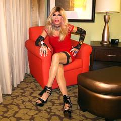 Cortney - Blonde in Red Dress (Cortney10100) Tags: cortneyanderson gold blonde anderson cortney pink purple black people nails thigh stilettos crossdresser crossdress transvestite transsexual trannie tranny femme highheels heels transgender tgurl tgirl tg tv red