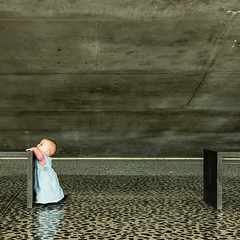 Miss Monamie (Bregg) Tags: ufo ghent university concrete architecture toddler minimal aula grey portrait