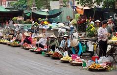 Street market in Hanoi (Hammerhead27) Tags: life colours vietnam oldquarter hanoi selling vegetables flowers fruit road market street women