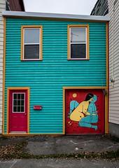St. John's House art. (rick miller foto) Tags: entrance doorway house candycanerow streetscenes newfoundlandandlabrador newfoundland stjohns streetart