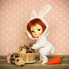 Easter bunny works hard... (Passion for Blythe) Tags: ming secretdoll redhead bjd tiny cute easter bunny carrot eggs