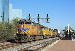 2614 + 3024 + 5201 + 7797, Dallas Union station, 19 March 2018 (Mr Joseph Bloggs) Tags: union pacific dallas texas usa tx united states america 2614 3024 5201 7797 freight cargo train treno container double stack intermodal railway railroad station et44ac general electric emd sd70ace ge electro motive division gm motors sd70m up