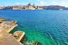 Tigne Point (Douguerreotype) Tags: city buildings cityscape malta blue valletta architecture water