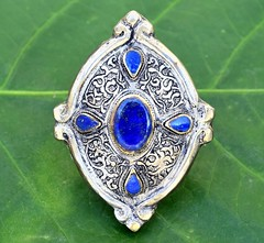 Big Vintage Kuchi Ring Lotus Carved Tribal Antique Ethnic Jewelry Silver (CraftEast) Tags: vintage jewelry jewellery afghan kuchi tribal ethnic gothic antique turkmen bohemian gypsy festival stone etsy boho hippie hippy handmade tuareg belly dance ring lapis lazuli