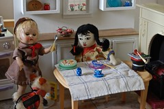 Breakfast at Ginny's (Emily1957) Tags: adalumdoll ginny jadesnow breakfast chopsticks spoon cereal noodles barbeque braids plaits browniescout chinesedoll handmade clothdoll vintage vintageplastic fireplace toy doll dolls toys nikon nikond40 light naturallight