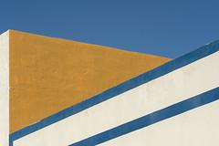 Two blue stripes (Jan van der Wolf) Tags: map181362v wall muur gebouw gevel geometric geometry geometrisch geometrie fuerteventura ochre oker stripes strepen blue blauw lines lijnen lijnenspel line interplayoflines playoflines
