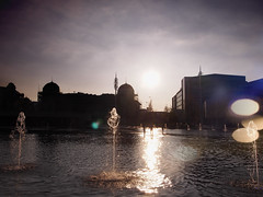 Bradford City Park near sunset (Mel_is_Moving) Tags: water epl6 olympus pen sky clouds outside outdoor sunset pond bradford westyorkshire uk