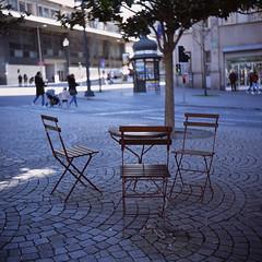Seats (Stephen Dowling) Tags: film 120 mediumformat lubitel166u slide fujiprovia100f porto portugal