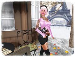 Oui?? (sunny.hanly) Tags: secondlife sl virtualworld game fashion originals art outfit clothes dress gem gems hair long blond aviglam choker maitreya lara photography peace avatar digitalart digitalphotography mesh bento laq gaia 7deadly paris pink