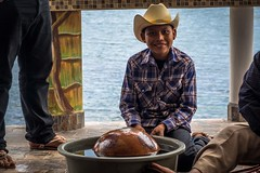 This boy was part of the traditional Yaqui deer dance and music for us.
