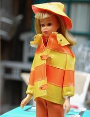 Up Early (Emily1957) Tags: clamdiggers francie straightleggedfrancie vintage vintagefrancieclamdiggers mattel fashion doll dolls toy toys light naturallight nikon nikond40 stripes raincoat vinyl beachhouse