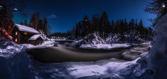 Myllykoski rapids in moonlight (M.T.L Photography) Tags: myllykoski kuusamo juuma moonlight night stars river kitkajoki water oldwatermill snow ice cold winter trees sky moon mikkoleinonencom mtlphotography shadows stream atmosphere panoramicphotography
