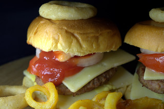 Homemade Cheese Burgers and Curly Fries