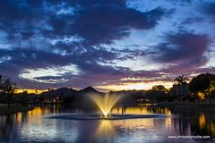 Sunset on the lake (doveoggi) Tags: 9523 arizona scottsdale greenbelt sunset city fountain blue
