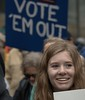 VOTE 'EM OUT (Scott 97006) Tags: sign protest woman female lady pretty smile