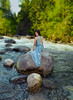 (Wendy Lu.) Tags: second wendylu canon5d beautiful fantasy tranquil ethereal fairytale river creek torquoise girl sitting rock boulder sikly long black hair smiling blue flowy gown standing dreamy asian female woman mystical canyon forest