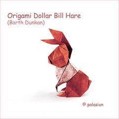 origami hare (polelena24) Tags: origami rabbit hare bunny dollar easter