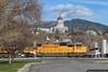 Back on the Move (jamesbelmont) Tags: unionpacific abcmlx28 automobile emd sd70m saltlakecity utah railroad railway train locomotive capitol dome