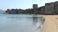 Methoni beach view of the castle IMG_7699 (mygreecetravelblog) Tags: greece peloponnese messenia messinia methoni methonicastle castle fortress archaeologicalsite historicsite ruins ancientruins ancientgreece ancientgreekruins outdoor landscape sea water bay methonibay beach sand methonibeach