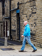 Elland 003 (Peter.Bartlett) Tags: unitedkingdom people streetphotography doorway westyorkshire peterbartlett shutter urban candid uk m43 microfourthirds lunaphoto walking urbanarte wall man bollard olympuspenf elland england gb