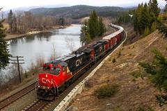 CN 2593 ~ Barriere (Chris City) Tags: train railway railroad freight cnr barriere river bridge snow dash944cw