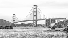 Golden Gate - San Francisco (SPP - Photography) Tags: tamronsp70200mmf28divcusdg2 tamron blackandwhite bridge sailing water blackwhite canon canon6d sausalito 6d sanfrancisco eos6d goldengatebridge fortpoint costline ruggedcoast coast sailboats california