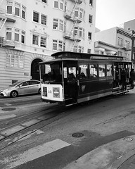 Cable Car (mayawhit13) Tags: road cablecar black white bw trolley street city sanfrancisco