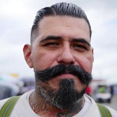 Stash (rustman) Tags: hotrodder mustache tattoo slick suspenders man portrait standing lonestarroundup color saturated vivid panasoniclumixgx8 gx8 austin atx texas lsru texascarculture texaslife