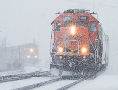 Show Goes On as the Snow Goes On (Jake Branson) Tags: train railroad bnsf railway sd402 galesburg il illinois snow winter freight yard emd locomotive