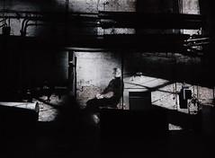 The sitting man (☺dannicamra☺) Tags: germany leipzig kunstkraftwerk illusion progressive fabrik kunst schwarz weis black white sw bw factory art