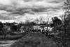 Grépiac vu depuis le pont en ruine. (jecrye8) Tags: nikond5500 nikon nikkor noiretblanc nb france bw blackandwhite occitanie tree arbre art ariège midipyrénées monochrome clouds nuages landscape paysage