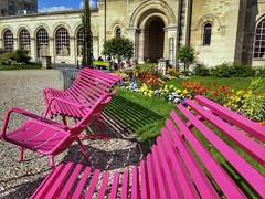 Empty benches (LUMEN SCRIPT) Tags: bench seat pink flower colours paris city urban france french travel tourism postcard vivid colour color