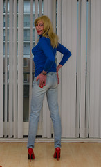 Pumps and jeans. (sabine57) Tags: crossdressing transvestism crossdress crossdresser cd tgirl tranny transgender transvestite tv travestie drag pumps highheels jeans bluesweater jumper